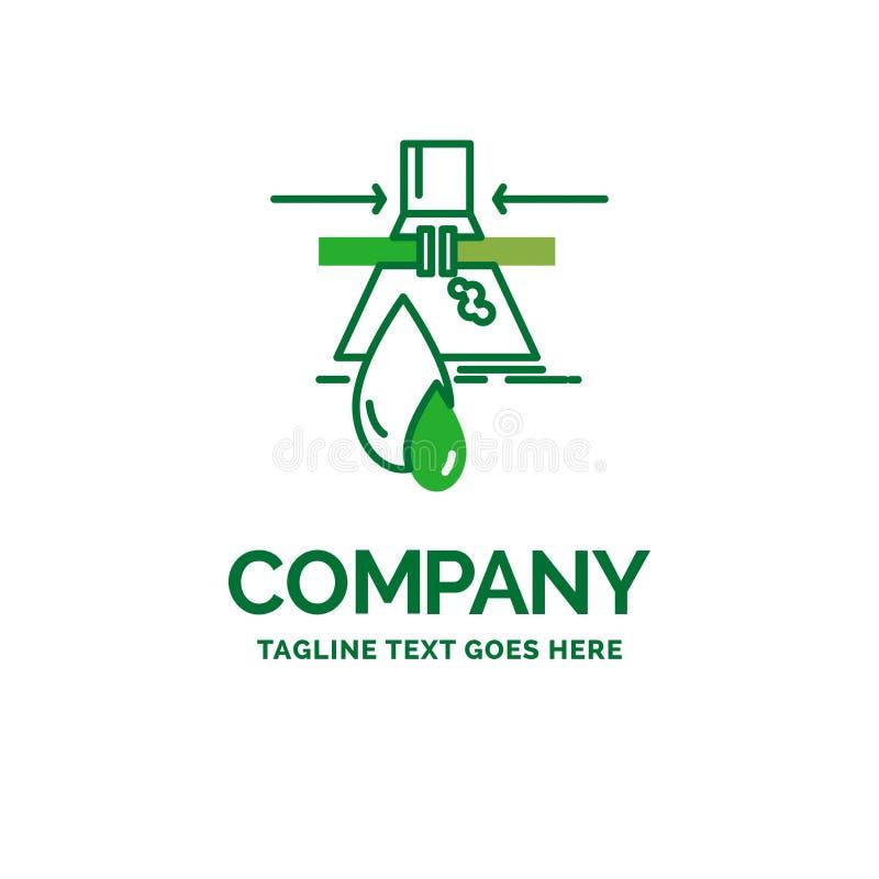 Kemikalie läcka, upptäckt, fabrik, plan affärslogo för förorening stock illustrationer