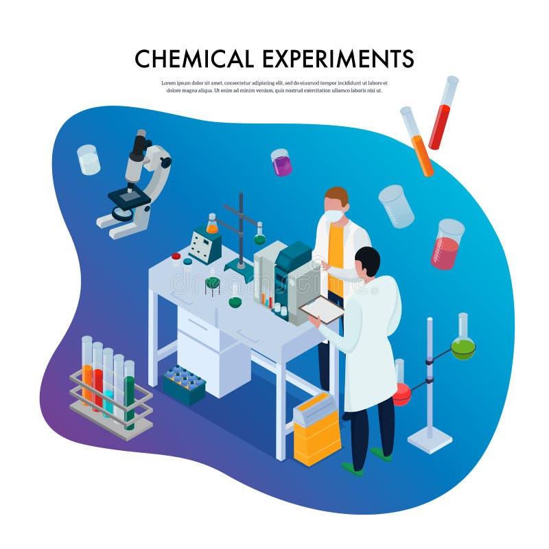 Kemikalien experimenterar den isometriska illustrationen vektor illustrationer