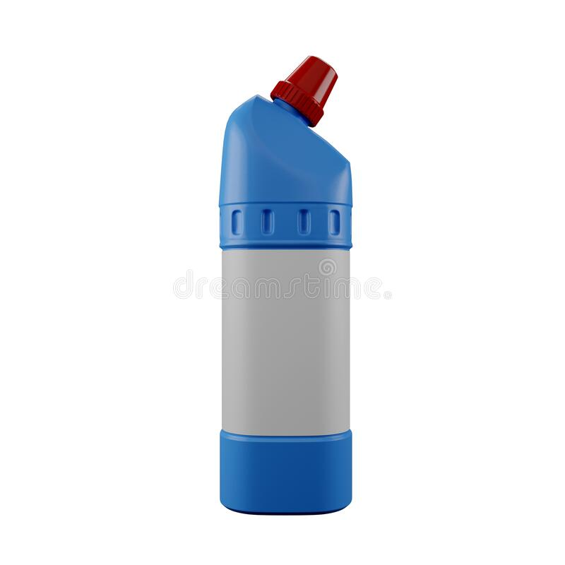 Kemikalier i blå plastflaska arkivbild