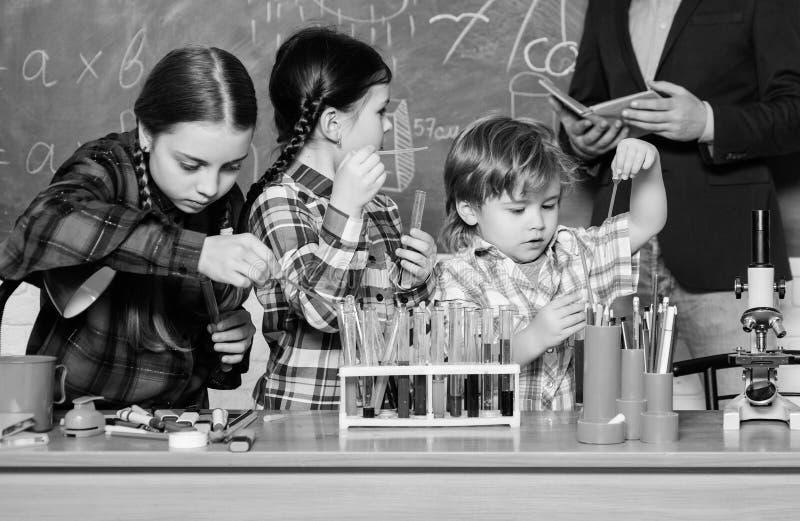 Kemilabb tillbaka skola till lycklig barnl?rare ungar i labblag som l?r kemi i skolalaboratorium framst?llning fotografering för bildbyråer