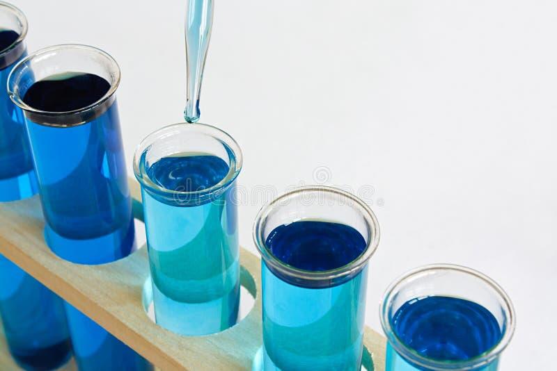 Kemiprovningsprovrör med droppglassen fotografering för bildbyråer