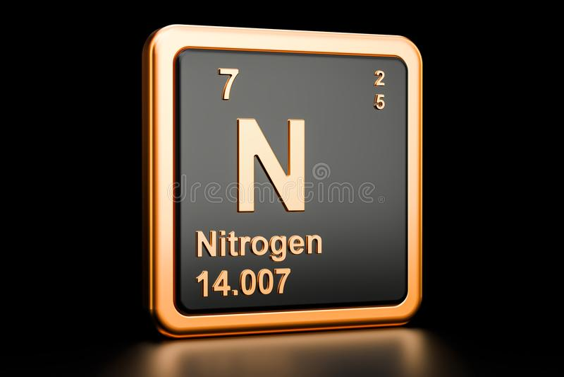 Kemisk beståndsdel för gasformigt grundämne N framförande 3d stock illustrationer