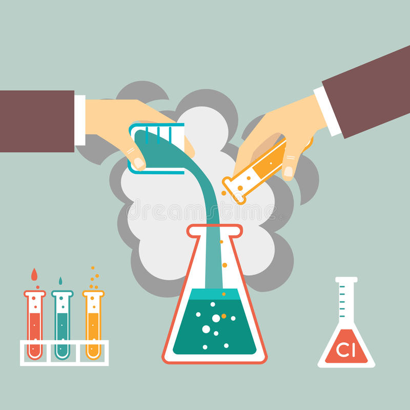 Kemisk experimentillustration vektor illustrationer