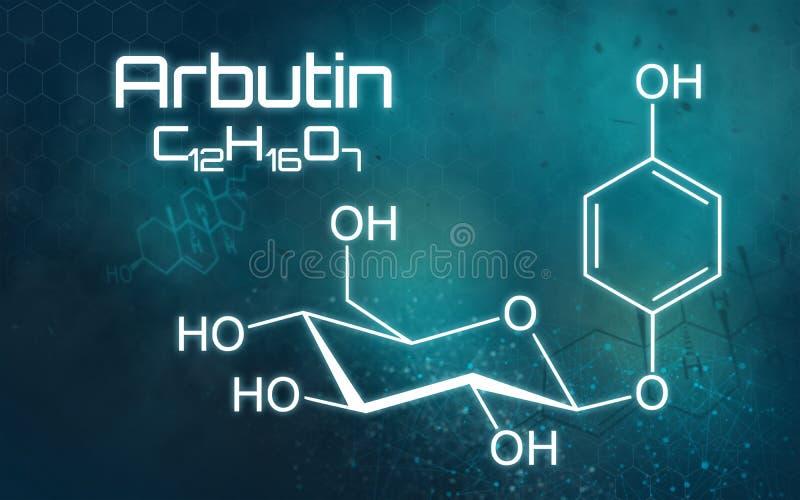 Kemisk formel av Arbutin på en futuristisk bakgrund stock illustrationer