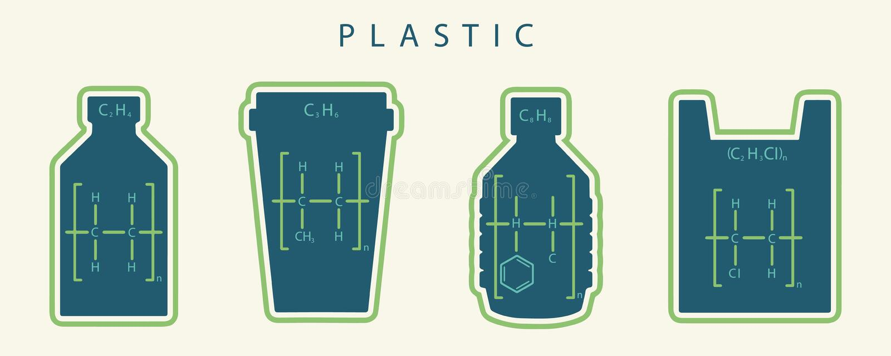 Kemisk formel av gemensamma sorter av plast- i form av disponibla objekt som flaskor, koppar och påsar som är skadliga till miljö royaltyfri illustrationer