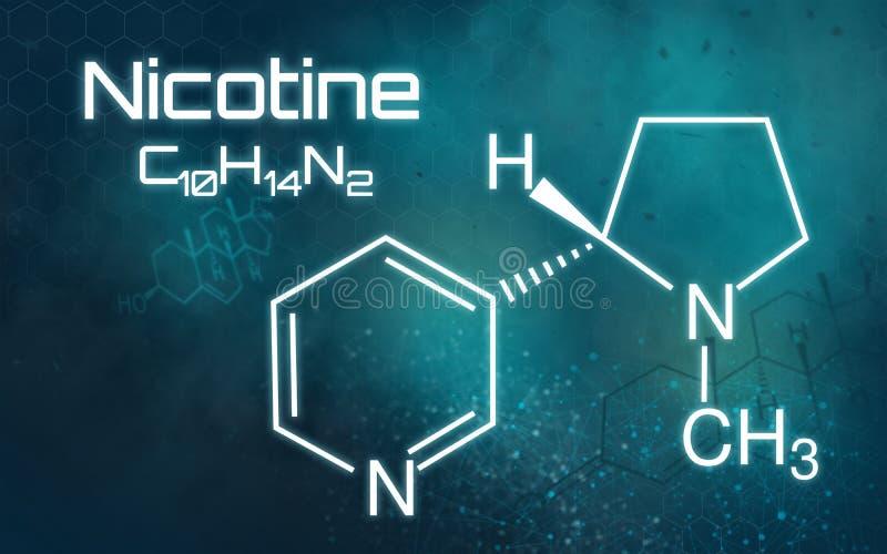 Kemisk formel av nikotin på en futuristisk bakgrund royaltyfri illustrationer