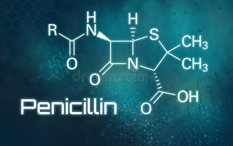 Kemisk formel av penicillin på en futuristisk bakgrund royaltyfri illustrationer