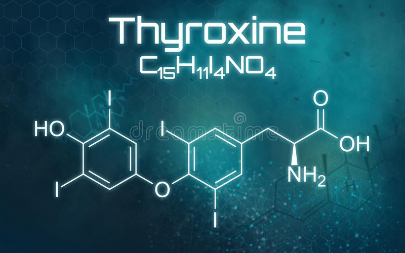 Kemisk formel av Thyroxine på en futuristisk bakgrund vektor illustrationer