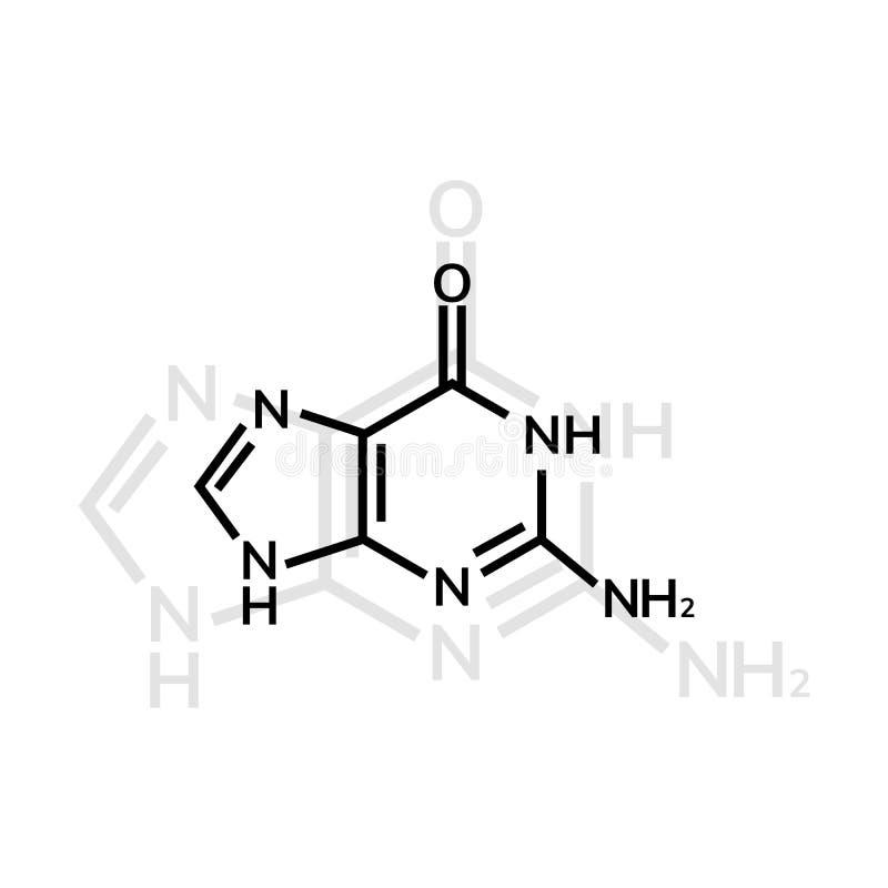 Kemisk formel för Guanine royaltyfri illustrationer