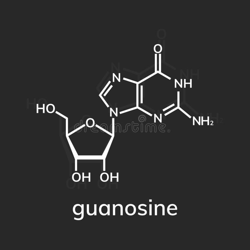 Kemisk formel för Guanosine stock illustrationer