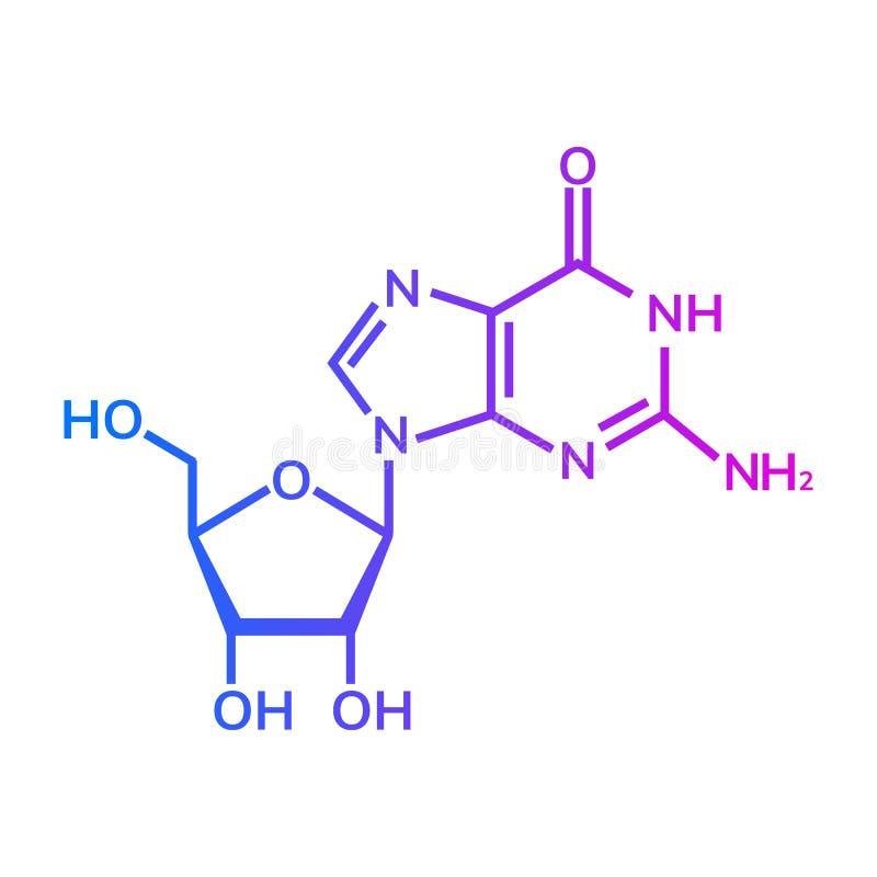 Kemisk formel för Guanosine vektor illustrationer