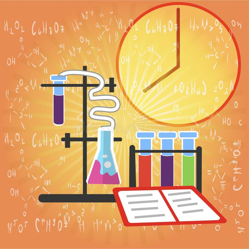 Kemisk forskningutrustning på formelbakgrund royaltyfri illustrationer