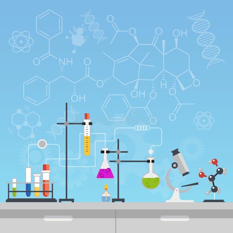 Kemisk illustration för vektor för design för stil för laboratoriumvetenskap och tekniklägenhet Arbetsplatsen bearbetar begrepp m vektor illustrationer