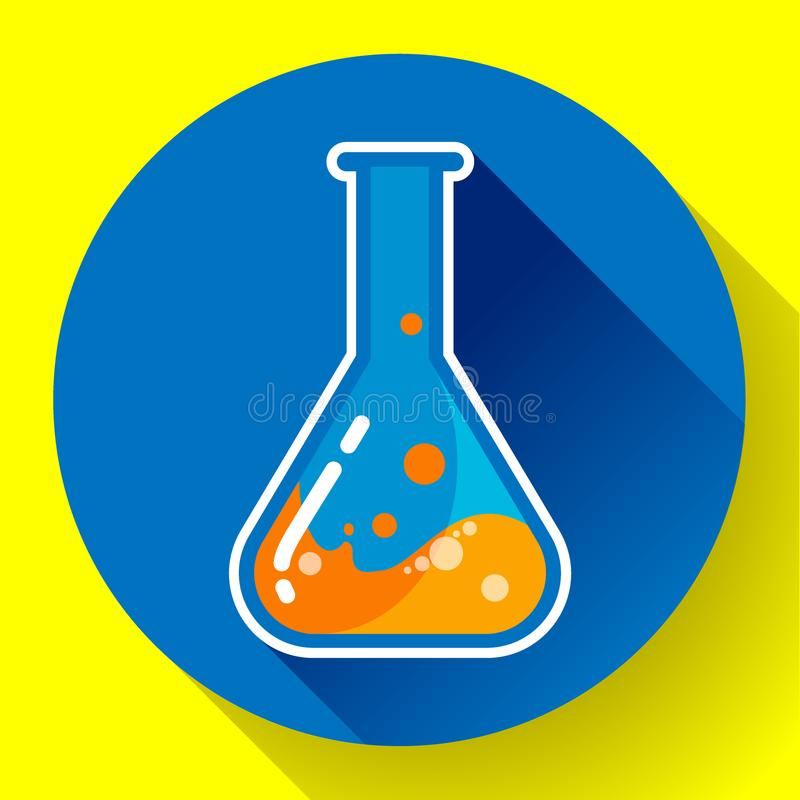 Kemisk labbflaska med vätskesymbolen Sänka designstil royaltyfri illustrationer