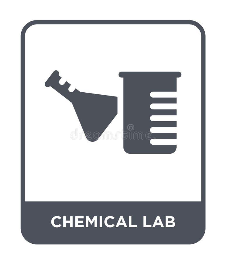 kemisk labbsymbol i moderiktig designstil kemisk labbsymbol som isoleras på vit bakgrund kemisk enkel labbvektorsymbol och royaltyfri illustrationer