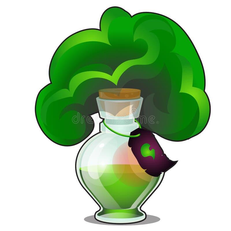 Kemisk reaktion i den glass flaskan med etiketten som isoleras på vit bakgrund Laboration med frigöraren av grön gas royaltyfri illustrationer