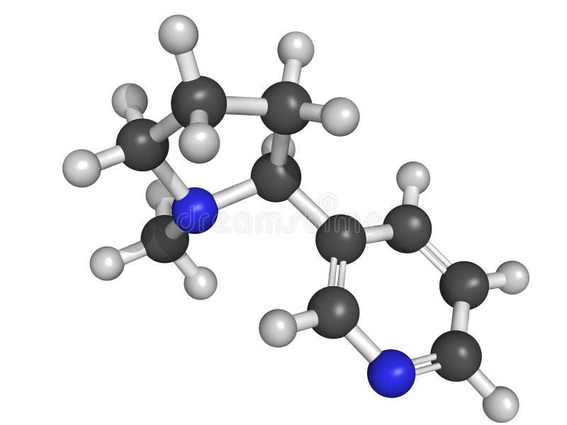 Kemisk struktur av nikotin stock illustrationer