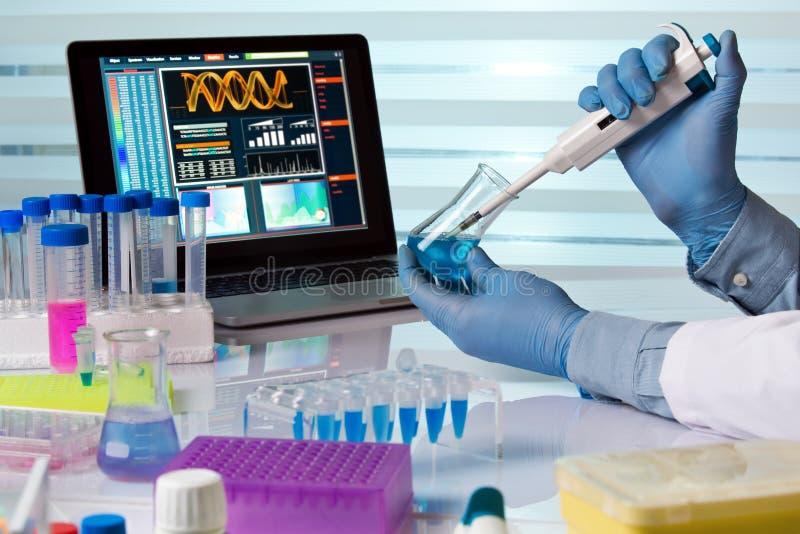 Kemisk tekniker som arbetar i laboratorium med pipetten och flaskan arkivbilder