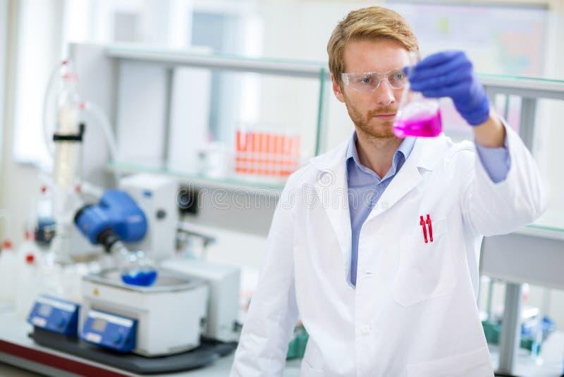 Kemisk tekniker som kontrollerar vätskeagens royaltyfria foton