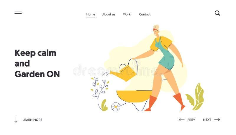 Kemisk trädgårdsmästare med flytande landningssida Kvinnlig karaktär i trädgårdsodlingsanläggningen Farmer Girl royaltyfri illustrationer