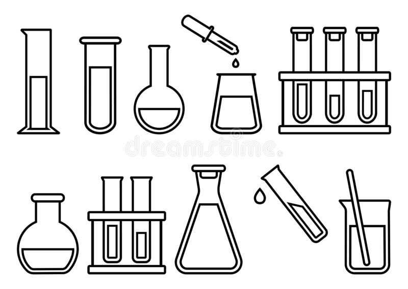 Kemisk utrustning, kemiska flaskor ocks? vektor f?r coreldrawillustration vektor illustrationer