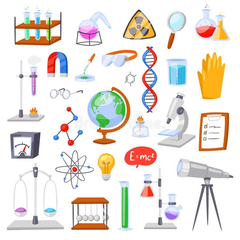 Kemisk vetenskap för kemivektor eller apotekforskning i laboratoriumet för teknologi eller experiment i laboratorium royaltyfri illustrationer