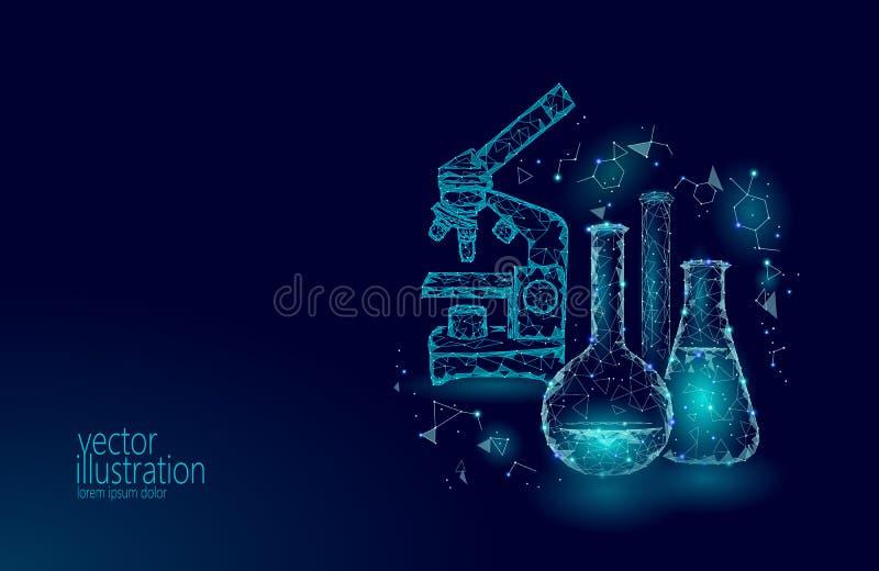Kemiska glass flaskor för låg poly vetenskap Blå glödande forskning för magisk triangel för utrustningmikroskopzoomobjektiv polyg stock illustrationer