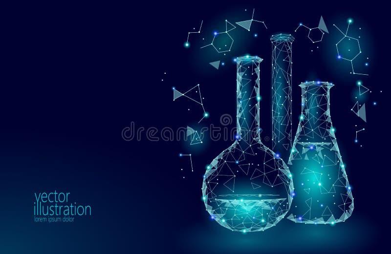 Kemiska glass flaskor för låg poly vetenskap Teknologi för framtid för forskning för magisk triangel för utrustning polygonal blå royaltyfri illustrationer