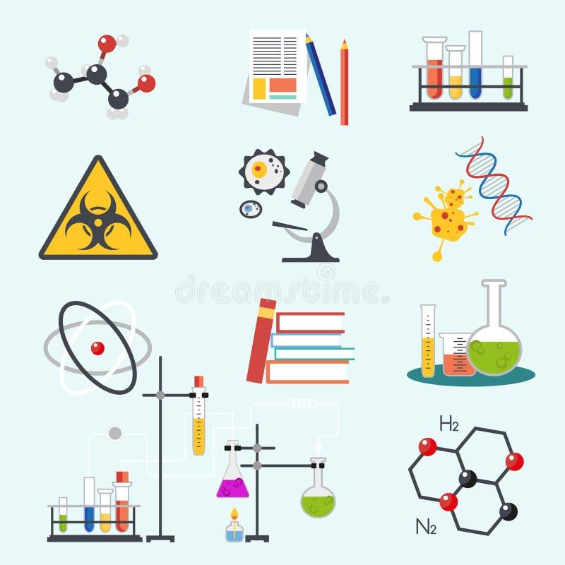 Kemiska symboler för illustration för vektor för design för stil för laboratoriumvetenskap och tekniklägenhet Arbetsplatshjälpmed stock illustrationer