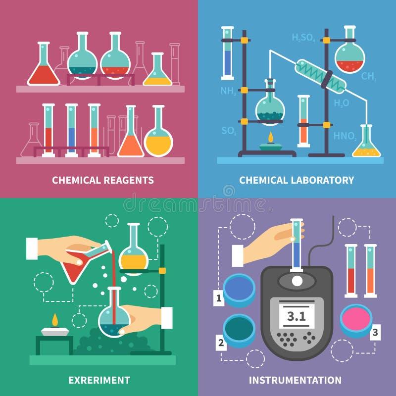 Kemiskt laboratoriumbegrepp stock illustrationer