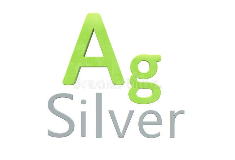 Kemiskt symbol för silver som i den periodiska tabellen vektor illustrationer