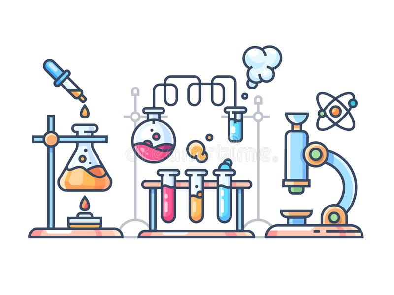 Kemiskt vetenskapligt experiment royaltyfri illustrationer