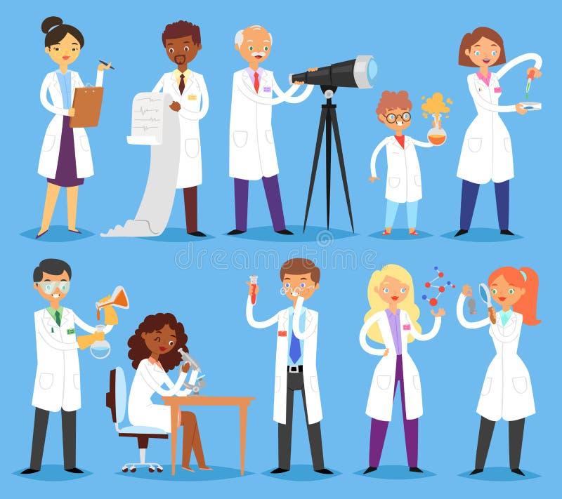 Kemist eller doktor för tecken för folk för forskarevektor som yrkesmässig forskar medicinskt experiment i vetenskapligt laborato royaltyfri illustrationer