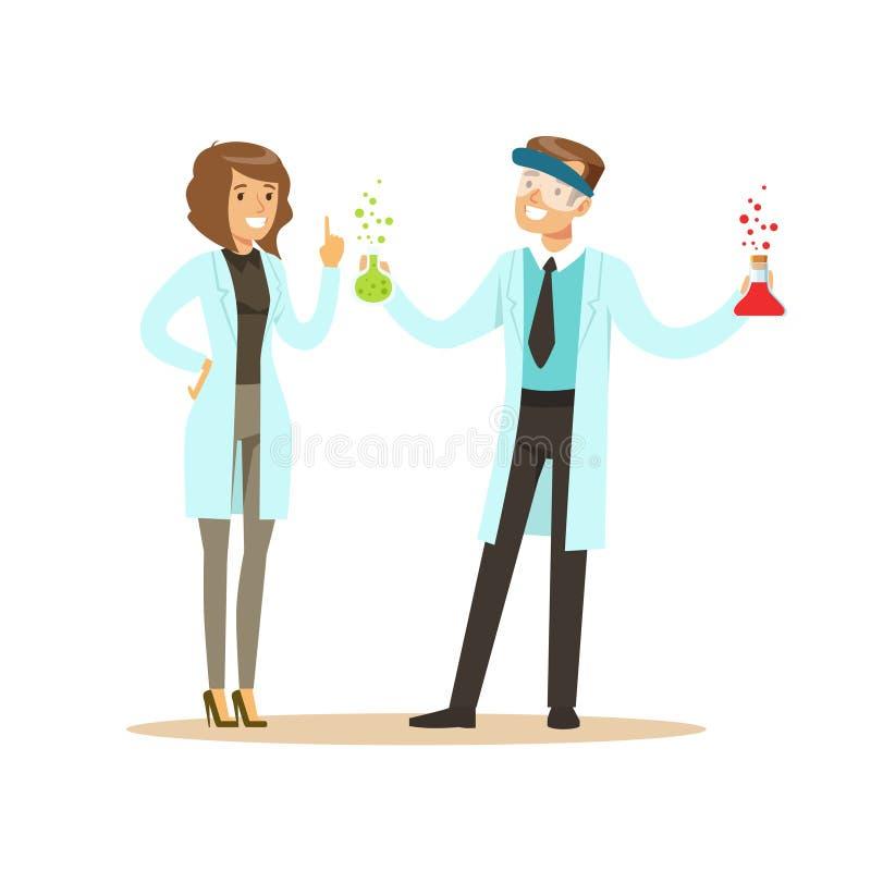 Kemist i skyddande exponeringsglas som rymmer provrör och den kvinnliga kollegan royaltyfri illustrationer
