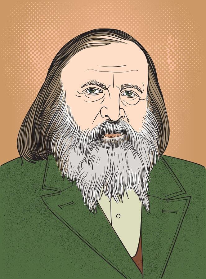 KemistDmitri Mendeleev stående vektor illustrationer