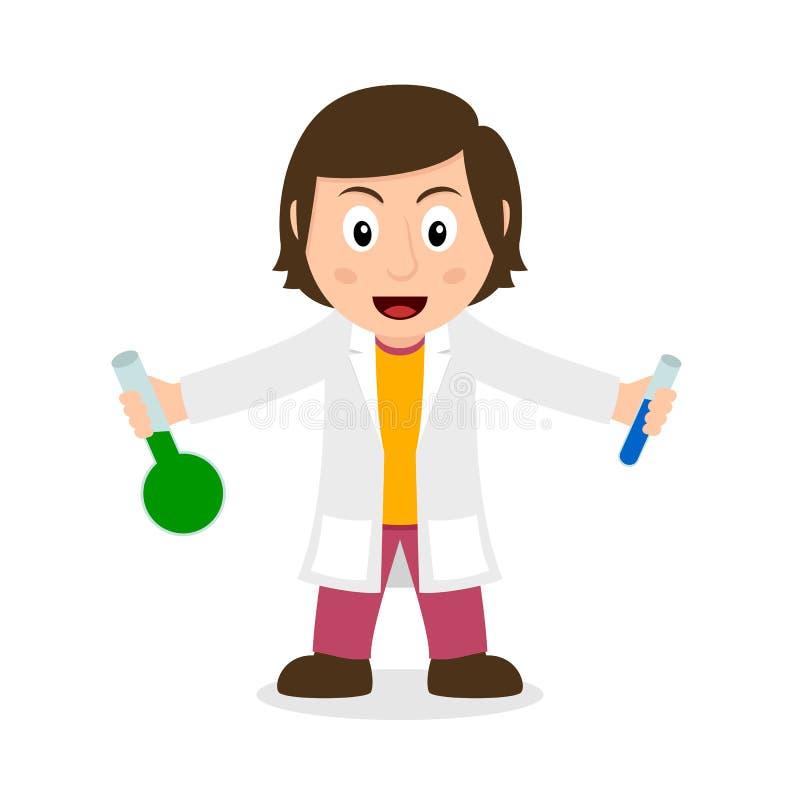 KemistWoman Character Holding små medicinflaskor stock illustrationer