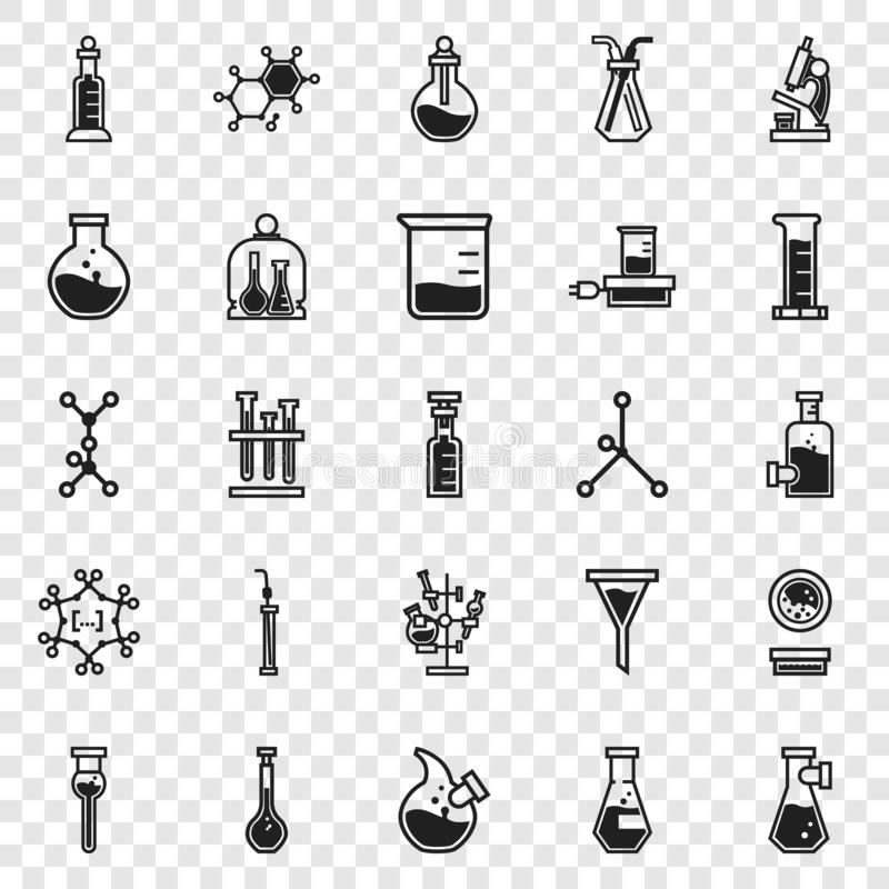 Kemisymbolsuppsättning, enkel stil stock illustrationer