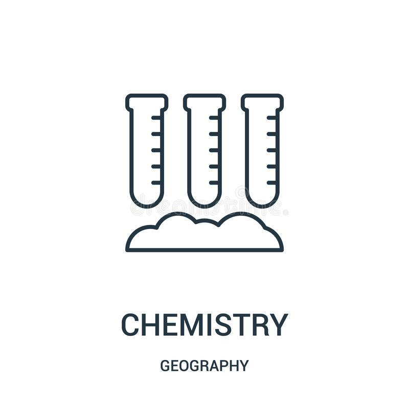 kemisymbolsvektor från geografisamling Tunn linje illustration f?r vektor f?r kemi?versiktssymbol stock illustrationer