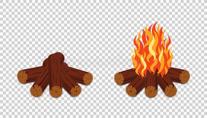 Kemping izolowany na przezroczystym tle Ogień ognisty z drewna i płomienia Campfire w stylu kreskówki royalty ilustracja