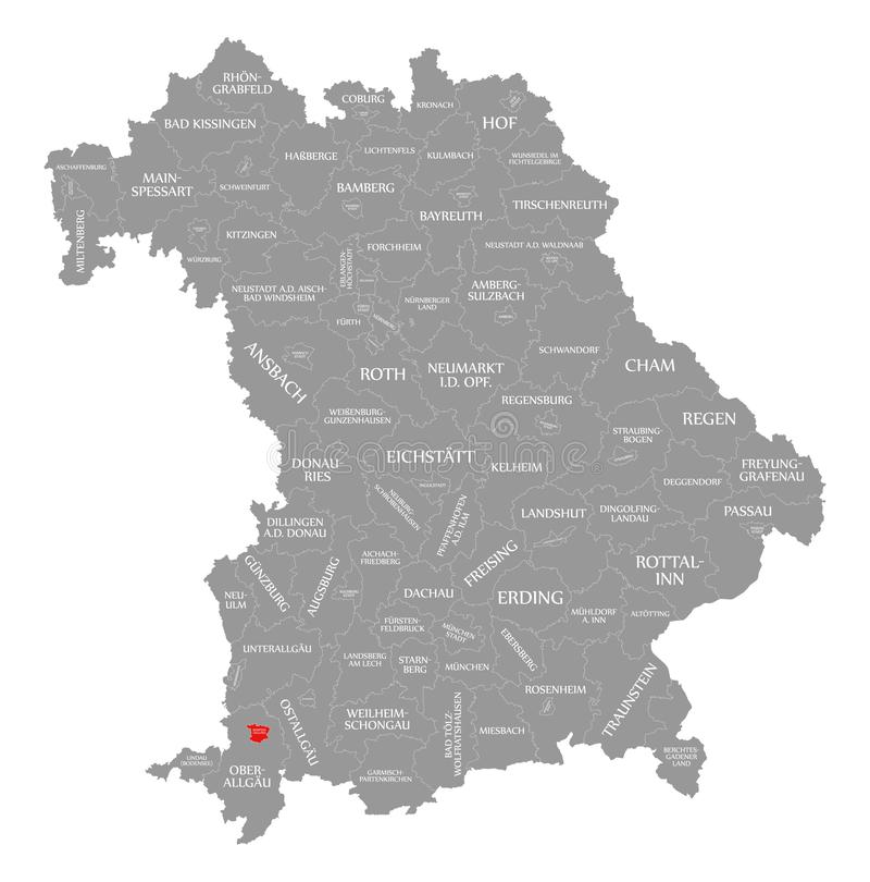 Kempten miasta czerwień podkreślająca w mapie Bavaria Niemcy ilustracja wektor