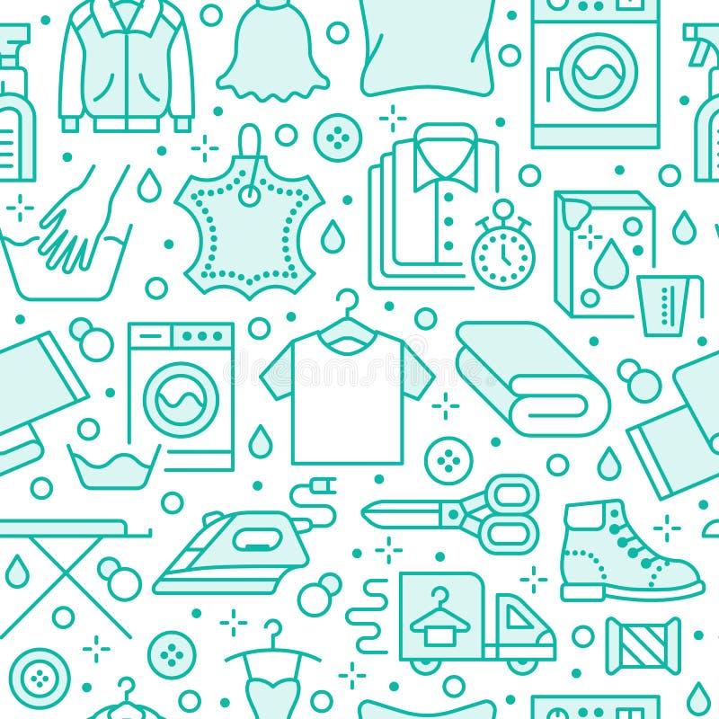 Kemtvätt sömlös modell för tvätteriblått med linjen symboler Tjänste- utrustning för tvättinrättning, tvagningmaskin, kläder vektor illustrationer