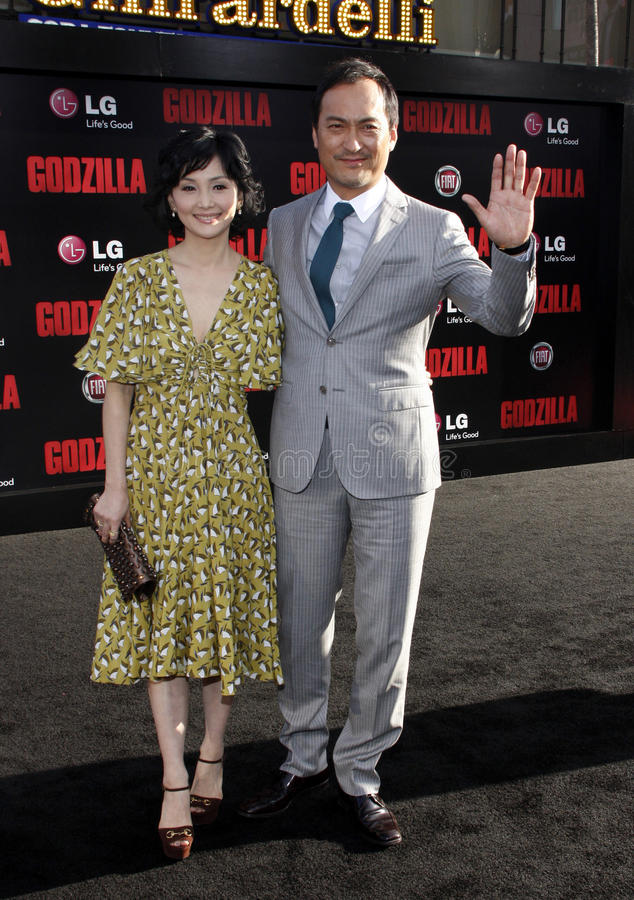 Ken Watanabe and Kaho Minami. At the Los Angeles premiere of Godzilla held at the Dolby Theatre in Los Angeles on May 8, 2014 in Los Angeles, California stock photography