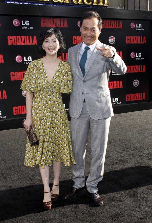 Ken Watanabe and Kaho Minami. At the Los Angeles premiere of Godzilla held at the Dolby Theatre in Los Angeles on May 8, 2014 in Los Angeles, California stock photos