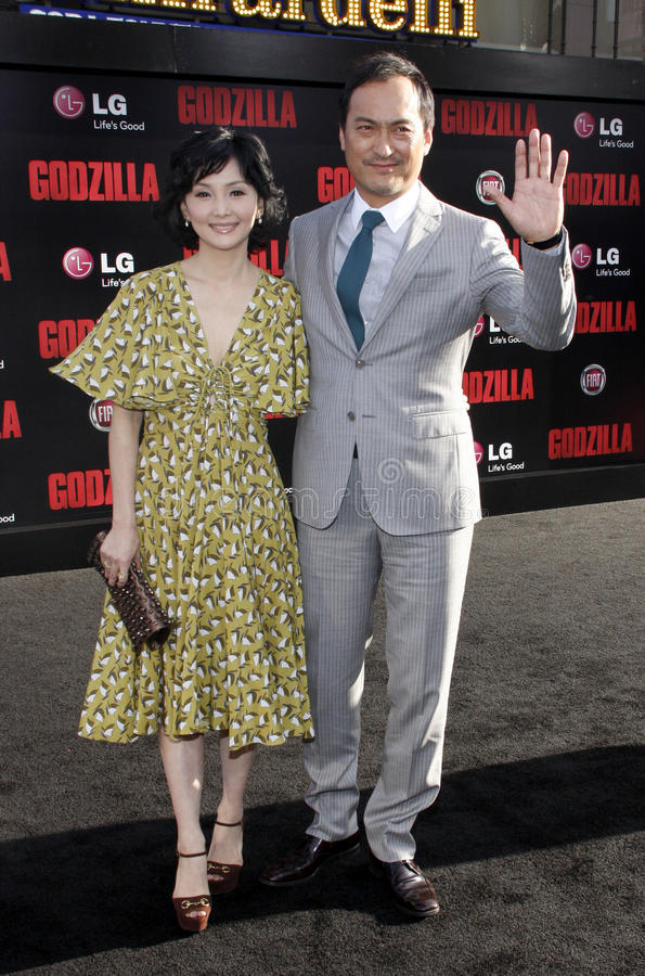 Ken Watanabe and Kaho Minami. At the Los Angeles premiere of Godzilla held at the Dolby Theatre in Los Angeles on May 8, 2014 in Los Angeles, California royalty free stock images
