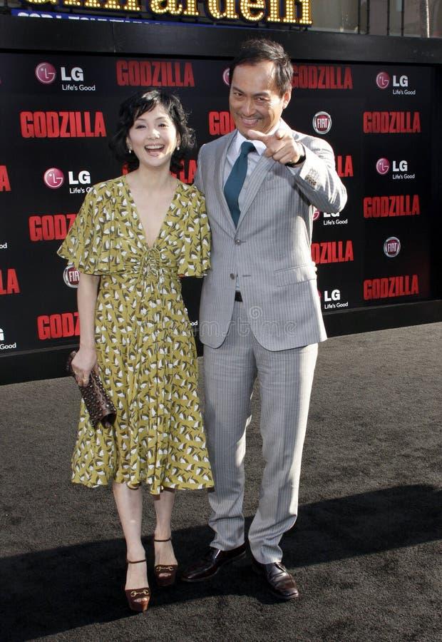 Ken Watanabe and Kaho Minami. At the Los Angeles premiere of Godzilla held at the Dolby Theatre in Los Angeles on May 8, 2014 in Los Angeles, California royalty free stock photo