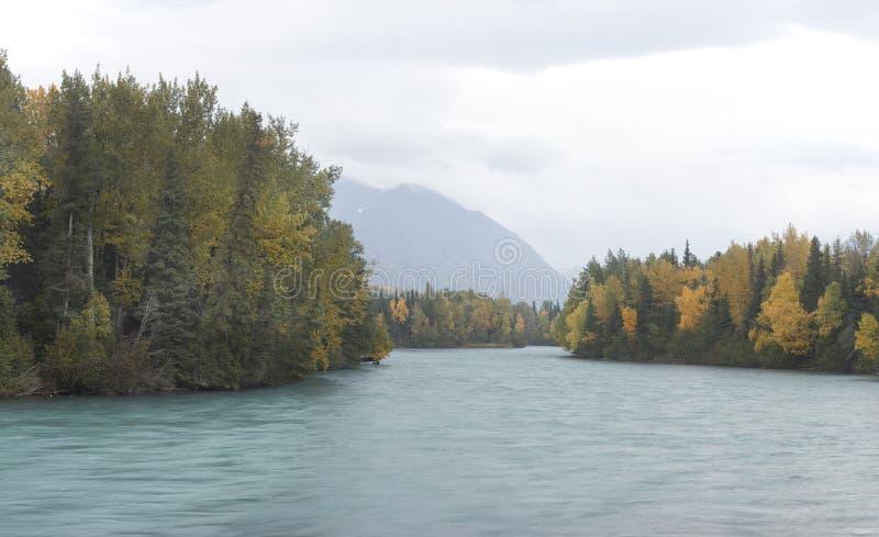 Kenai River on cloudy fall day royalty free stock photos