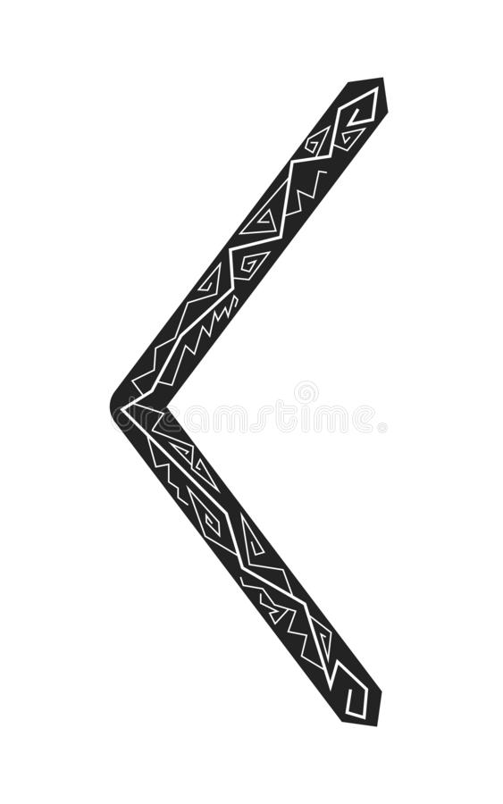 Kenaz rune. Ancient Scandinavian runes. Runes senior futarka. Magic, ceremonies, religious symbols. Predictions and amulets. Ornament lightning. White royalty free illustration