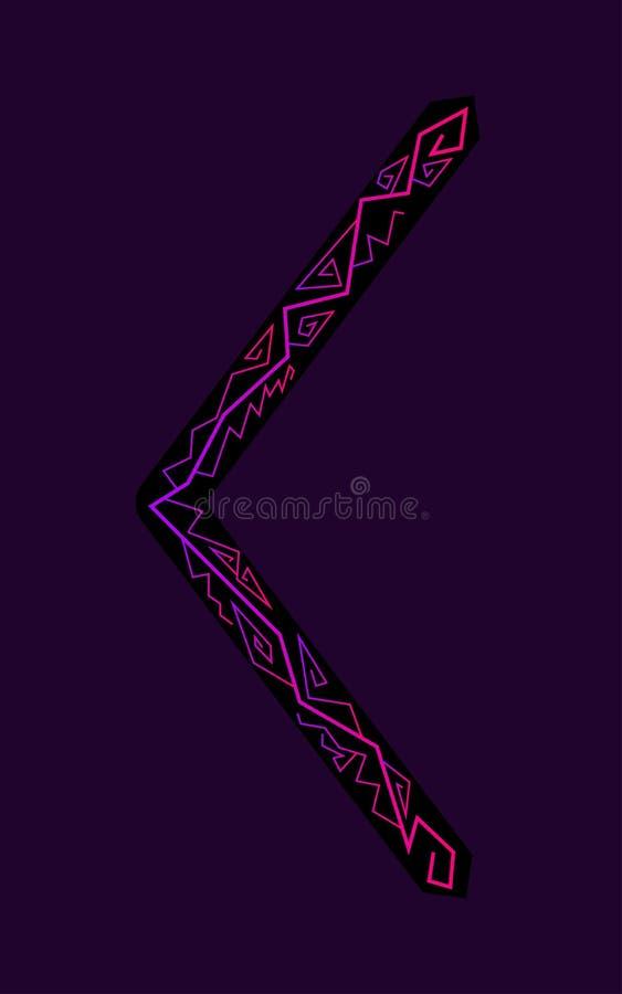 Kenaz rune. Ancient Scandinavian runes. Runes senior futarka. Magic, ceremonies, religious symbols. Predictions and amulets. Ornament lightning. Dark stock illustration