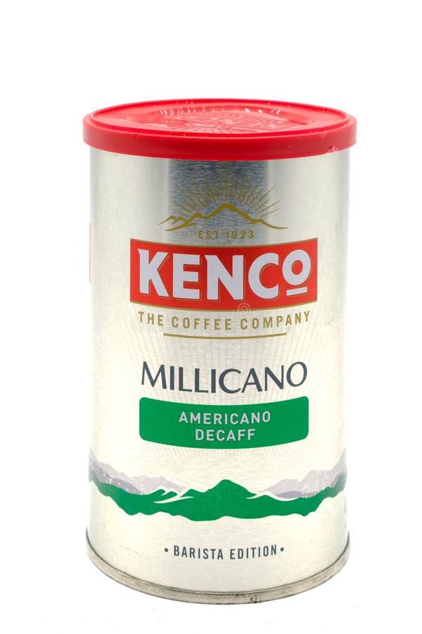 Kenco Millicano Decaff kaffe i återanvändbar behållare royaltyfri foto