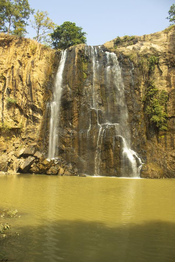 Kendai fall a picnic spot at korba , chhattisgarh, india. `kendai fall` a beautiful picnic spot situated at kendai village fall hight is 75 feet Kendai is a stock photography
